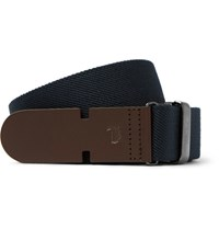 Tod's 3Cm Blue Leather Trimmed Canvas Belt Navy