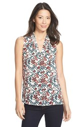 Petite Women's Halogen Sleeveless Tuck Detail V Neck Top Beige Teal Paisley Print
