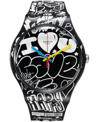 Swatch Unisex Swiss Street Energy Black And White Silicone Strap Watch 41Mm Suob125