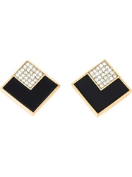 Givenchy Vintage Square Clip On Earrings Black
