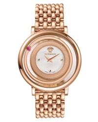 Versace Venus Round Bracelet Watch W Floating Red Topaz Rose Golden White