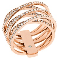 Michael Kors Clear Crystal Criss Cross Ring Rose Gold