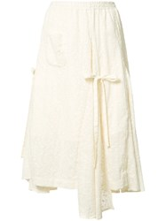 Renli Su Embroidered Flared Skirt White
