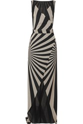 Gareth Pugh Printed Stretch Silk Blend Chiffon Wrap Maxi Dress Beige
