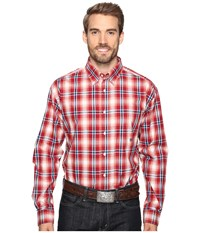 Roper 0557 Wine Plaid Button One Pocket Red Men's Clothing