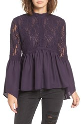 Sun And Shadow Women's Lace Inset Peplum Top