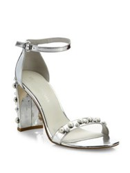 Stuart Weitzman Morepearls Studded Metallic Ankle Strap Sandals Silver