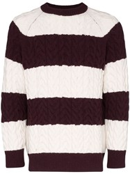 Sunnei Striped Cable Knit Jumper Red