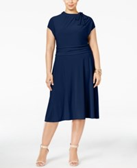 Love Squared Plus Size Tie Neck A Line Dress Navy