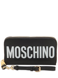 Moschino Logo Printed Leather Wallet Black