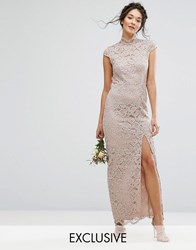 Tfnc Wedding High Neck Lace Dress With Cap Sleeve Mink Pink