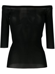 D.Exterior Sheer Off Shoulder Top Black