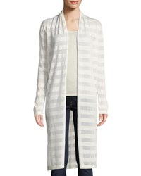 Neiman Marcus Open Front Mesh Stripe Cashmere Blend Duster Cardigan Winter White