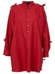 Undercover Cut Out Shoulder Oversized Blouse Red