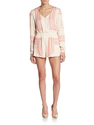 Saks Fifth Avenue Red Beachy Border Print Romper Coral White