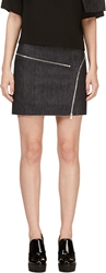 Jay Ahr Blue Raw Denim Zippered Mini Skirt