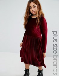 Alice And You Velvet Skater Dress Burgundy Red