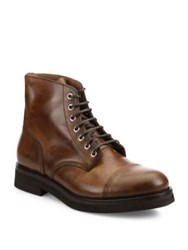 Brunello Cucinelli Cap Toe Leather Boots Brown