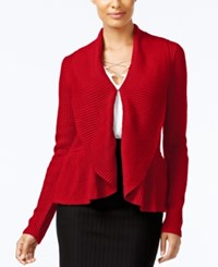 Cable And Gauge Ruffled Shawl Collar Cardigan Scarlet Sage