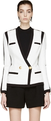 Balmain Black And White Woven Colorblock Blazer