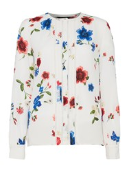 Ellen Tracy Sleeveless Floral Blouse With Piping Multi Coloured Multi Coloured