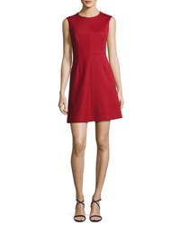 Diane Von Furstenberg Tailored Sleeveless A Line Dress Red Navy