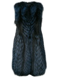 Liska Long Fur Gilet Blue