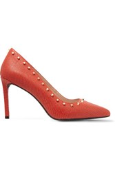 Dkny Evana Studded Lizard Effect Leather Pumps Tomato Red