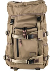As2ov Square Buckled Backpack Men Nylon One Size Brown