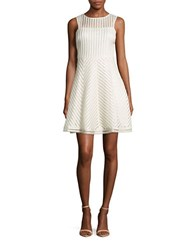 Guess Mesh Sleeveless Fit And Flare Dress Ivory Gold