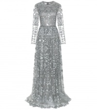 Valentino Embellished Tulle Gown Grey