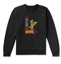 Rag And Bone Printed Fleece Back Cotton Blend Jersey Sweatshirt Black
