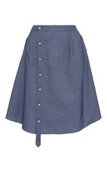 Alexis Mabille Button Up Chambray Skirt Blue