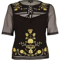 River Island Black Mesh Lace Up Embroidered T Shirt