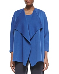 Caroline Rose Wool Knit Draped Jacket Petite