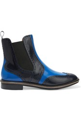 Marc By Marc Jacobs Wingtip Glossed Leather Ankle Boots Cobalt Blue