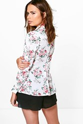 Boohoo Floral Lace Up Back Shirt Multi