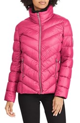 Lauren Ralph Lauren Chevron Quilted Packable Down Jacket Berry