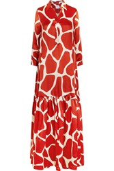 Stella Jean Printed Silk Satin Maxi Dress Red