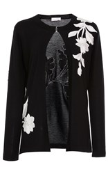 Naeem Khan Floral Embroidered Cardigan Black White