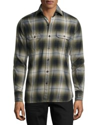 Tom Ford Plaid Flannel Military Shirt Green