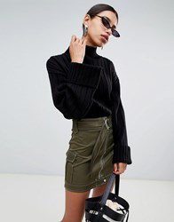 Boohoo Chunky Rib High Neck Sweater In Black Black