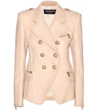 Balmain Leather Jacket Beige