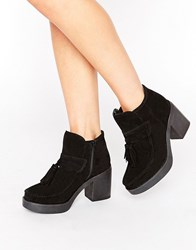 Asos Rex Suede Tassel Ankle Boots Black Suede