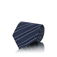 Cifonelli Satin Stripe Silk Basket Weave Necktie Navy