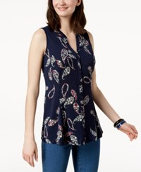 Charter Club Paisley Print Blouse Created For Macy's Intrepid Blue Combo