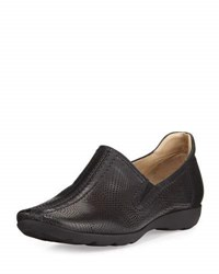 Sesto Meucci Gabys Perforated Leather Slip On Black