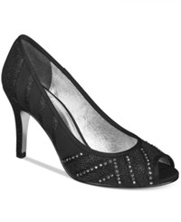 Adrianna Papell Flair Peep Toe Evening Pumps Women's Shoes Black