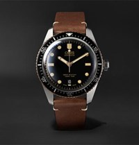 Oris Divers Sixty Five Automatic 42Mm Stainless Steel And Leather Watch Black