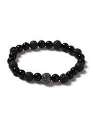 Topman Black Bead And Glitter Ball Stretch Bracelet